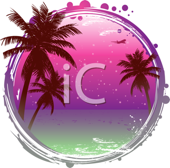 Royalty Free Clipart Image of an Abstract Tropical sunset Background