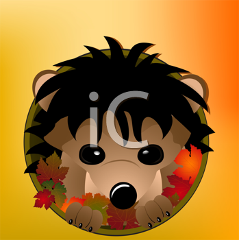 Royalty Free Clipart Image of a Hedgehog Peeking Out From a Hole of Leaves