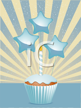 Royalty Free Clipart Image of a Cupcake With a Candle and Balloons
