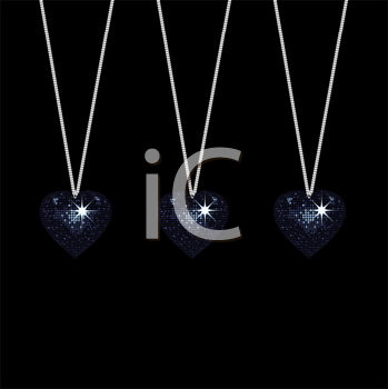 Royalty Free Clipart Image of a Set of Three Disco Style Valentine Heart Pendants