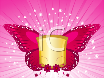Royalty Free Clipart Image of a Shield With Butterfly Wings