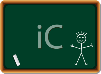 Royalty Free Clipart Image of a Stick Figure Drawn on a Chalkboard
