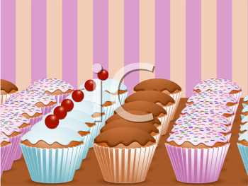 Royalty Free Clipart Image of Rows of Cupcakes on Display