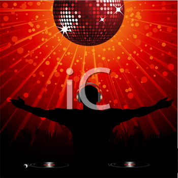 Royalty Free Clipart Image of a DJ Wearing Headphones Entertaining a Crowd