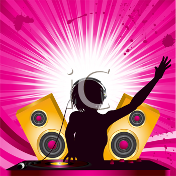 Royalty Free Clipart Image of a Female DJ Wearing Headphones Mixing on a Turntable
