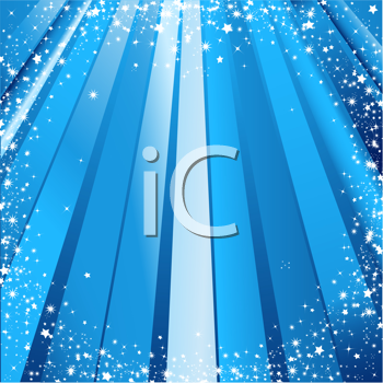 Royalty Free Clipart Image of Festive Blue Light Rays and Christmas Stars