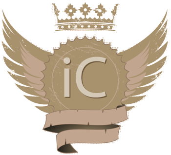 Royalty Free Clipart Image of a Shield With a Crown and Wings