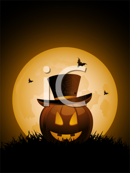 Royalty Free Clipart Image of a Pumpkin With a Top Hat and Bats