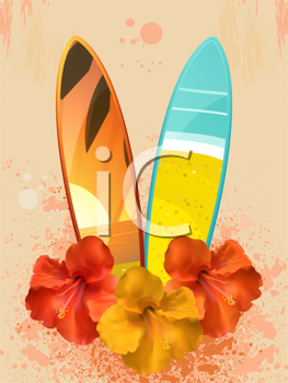 Royalty Free Clipart Image of Flowers and Surfboards
