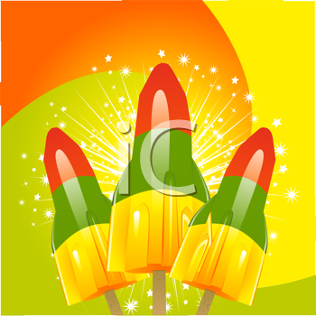 Royalty Free Clipart Image of Three Rocket Popsicles With Stars