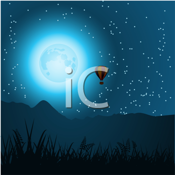 Royalty Free Clipart Image of a Hot Air Balloon Ride at Night