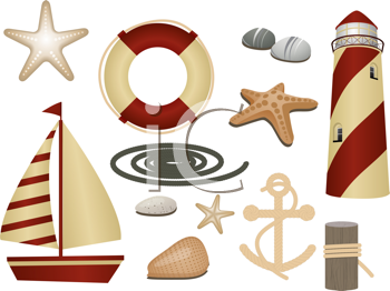 Royalty Free Clipart Image of Nautical Symbols