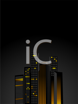 Royalty Free Clipart Image of a Night Skyline