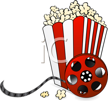Royalty Free Clipart Image of Popcorn and Film Reel