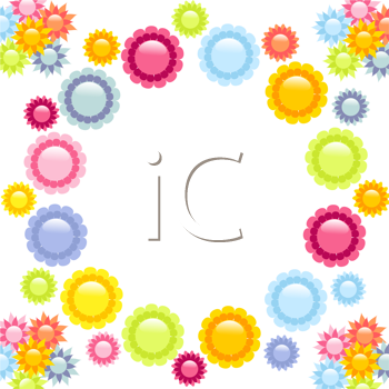 Royalty Free Clipart Image of a Colorful Floral Background