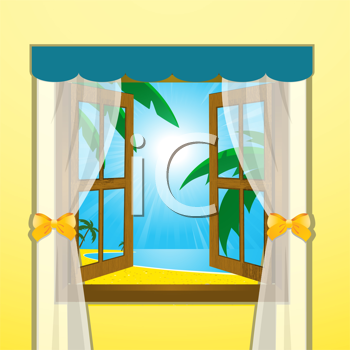 Royalty Free Clipart Image of the View of a Beach Through a Window
