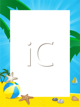 Royalty Free Clipart Image of a Tropical Summer Border