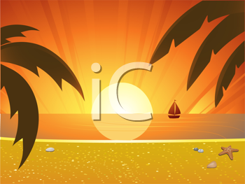 Royalty Free Clipart Image of a Tropical Sunset Beach Landscape
