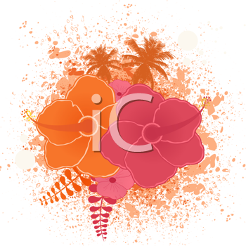 Royalty Free Clipart Image of Hibiscus Flowers on a Grunge Background