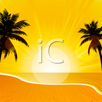 Royalty Free Clipart Image of a Tropical Sunset Beach Scene