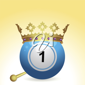bingo ball with crown and sceptre