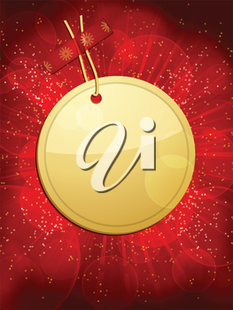 gold Christmas gift tag taped to a glowing red background