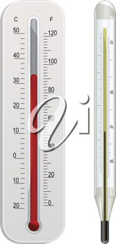 glass weather thermometer and white plastic weather thermometer