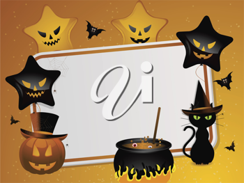 halloween background with area for message and pumpkin, black cat, cauldron, bats and balloons