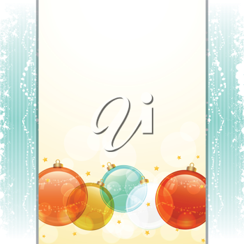 Christmas baubles on a panel and blue texture background