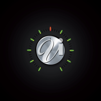 Silver Control Dial with Glowing Indicators on a Black Background