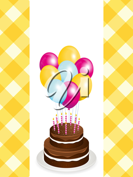 Chocolate birthday cake with candles and balloons on a yellow gingham background