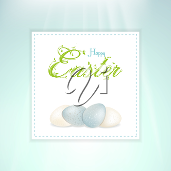 Easter Border with White and Blue Speckled Eggs and Easter Message on a Blue Background