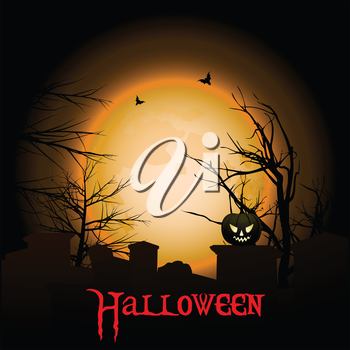 Halloween Background with Text Pumpkin Creepy Tree and Graveyard
