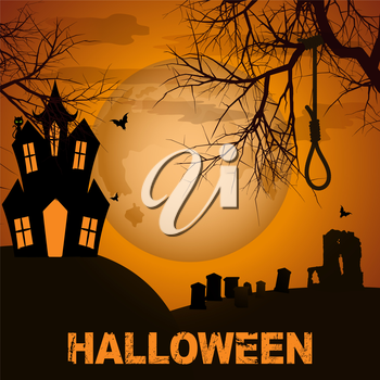 Halloween Background with Graveyard Spooky House and Text