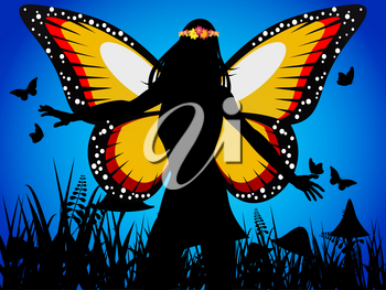 Fairy Queen Silhouette with Butterfly Wings and Flowers Crown Over Dark Blue Background
