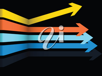 3D Illustration of Geometric Abstract Multicoloured Arrows Over Black Background with One Arrow Going in Different Direction