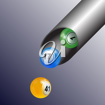 3D Illustration of Bingo Lottery Balls Coming Out From a Metallic Tube Background