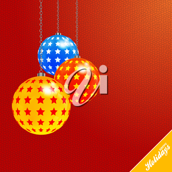 3D Illustration of Christmas Baubles Decorated with Stars and Chain Over Red Textured Background and Happy Holidays Decorative Text