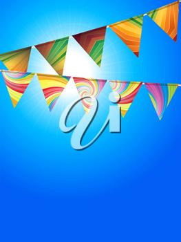 Colourful Striped and Swirl Bunting Over Blue Sunny Sky Background