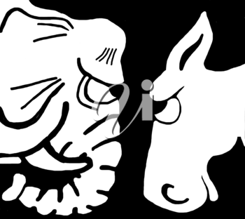 Royalty Free Clipart Image of an Elephant and a Donkey