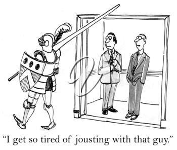 Royalty Free Clipart Image of Executives Commenting on The Knight in the Office