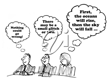 Royalty Free Clipart Image of Colleagues Thoughts About the Meeting