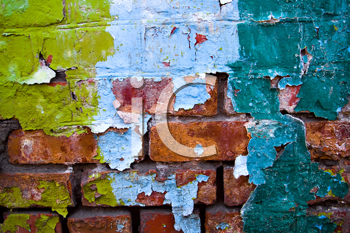 Royalty Free Photo of Peeling Paint on a Brick Wall