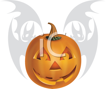 Royalty Free Clipart Image of a Pumpkin and Bat Background