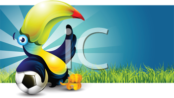 Royalty Free Clipart Image of a Toucan Resting on a Soccer Ball