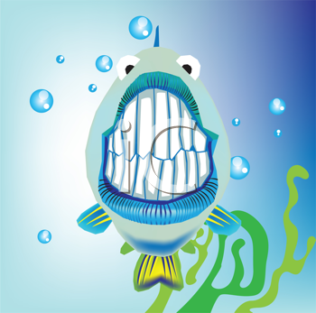 Royalty Free Clipart Image of a Fish Showing Its Teeth