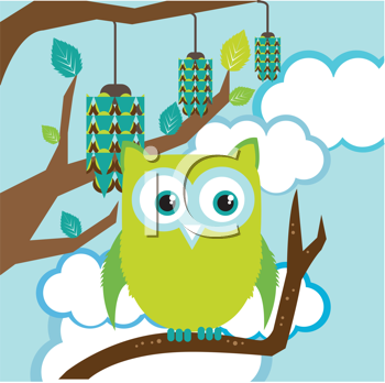Royalty Free Clipart Image of an Owl in a Tree
