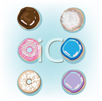 Royalty Free Clipart Image of Doughnuts