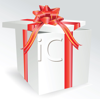 Royalty Free Clipart Image of a Box With a Red Bow
