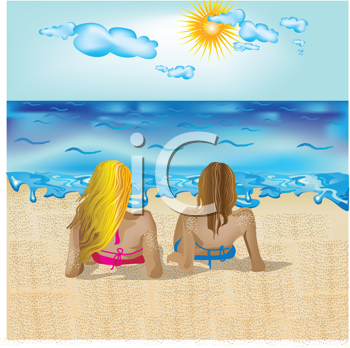 Royalty Free Clipart Image of Two Women on a Beach